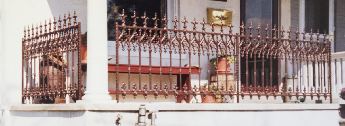 copper metal fence railing for a porch